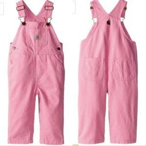 Carhartt Girls Pink Overalls 4T Denim Relaxed Fit